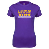 Ladies Syntrel Performance Purple Tee-The Storm To NYC Stacked