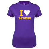 Ladies Syntrel Performance Purple Tee-I Heart The Storm