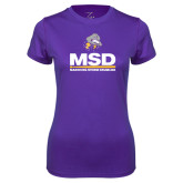 Ladies Syntrel Performance Purple Tee-MSD w/ PVAM Logo