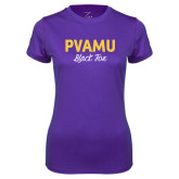 Ladies Syntrel Performance Purple Tee-PVAMU Black Fox Script