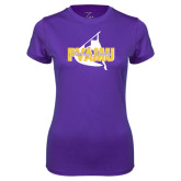 Ladies Syntrel Performance Purple Tee-PVAMU Twirling Thunder Logo
