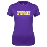 Ladies Syntrel Performance Purple Tee-PVAMU Twirling Thunder Overlap