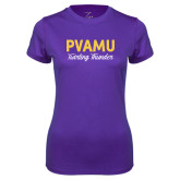 Ladies Syntrel Performance Purple Tee-PVAMU Twirling Thunder Script
