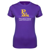 Ladies Syntrel Performance Purple Tee-PVAM Stacked