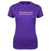 Ladies Syntrel Performance Purple Tee-Word Mark Stacked