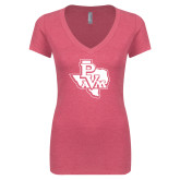 Next Level Ladies Vintage Pink Tri Blend V Neck Tee-PVAM Texas