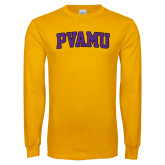 Gold Long Sleeve T Shirt-Arched PVAMU