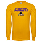 Gold Long Sleeve T Shirt-Stacked Prairie View A&M Panthers