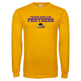 Gold Long Sleeve T Shirt-Collegiate Stacked Prairie View A&M Panthers