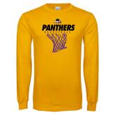 Gold Long Sleeve T Shirt-Basketball Design