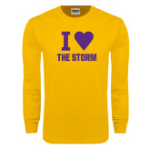 Gold Long Sleeve T Shirt-I Heart The Storm