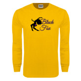 Gold Long Sleeve T Shirt-Black Fox Logo