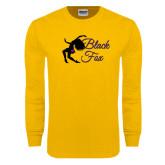 Gold Long Sleeve T Shirt-Black Fox Logo