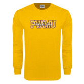 Gold Long Sleeve T Shirt-PVAMU Black Fox Overlap