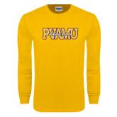 Gold Long Sleeve T Shirt-PVAMU Black Fox Overlap