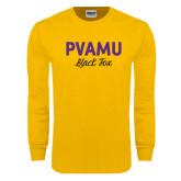 Gold Long Sleeve T Shirt-PVAMU Black Fox Script