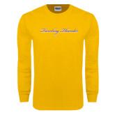 Gold Long Sleeve T Shirt-PVAMU Twirling Thunder Logo