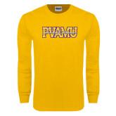 Gold Long Sleeve T Shirt-PVAMU Twirling Thunder Overlap