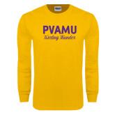 Gold Long Sleeve T Shirt-PVAMU Twirling Thunder Script