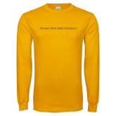 Gold Long Sleeve T Shirt-Word Mark Flat