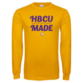 Gold Long Sleeve T Shirt-HBCU Made Script