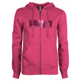 ENZA Ladies Fuchsia Fleece Full Zip Hoodie-PVAMU Foil