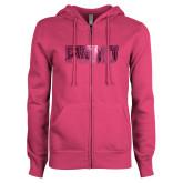ENZA Ladies Fuchsia Fleece Full Zip Hoodie-PVAMU Foil