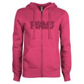 ENZA Ladies Fuchsia Fleece Full Zip Hoodie-PVAMU Hot Pink Glitter