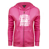 ENZA Ladies Fuchsia Fleece Full Zip Hoodie-Praire View marching Storm w/ Majors