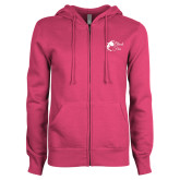 ENZA Ladies Fuchsia Fleece Full Zip Hoodie-Black Fox Logo