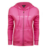 ENZA Ladies Fuchsia Fleece Full Zip Hoodie-PVAMU Twirling Thunder Logo