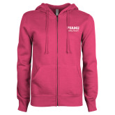 ENZA Ladies Fuchsia Fleece Full Zip Hoodie-PVAMU Twirling Thunder Script