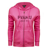 ENZA Ladies Fuchsia Fleece Full Zip Hoodie-PVAMU Black Fox Script