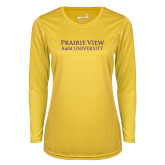 Ladies Syntrel Performance Gold Longsleeve Shirt-Word Mark Stacked