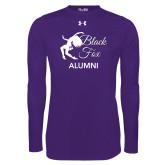 Under Armour Purple Long Sleeve Tech Tee-Black Fox Alumni