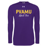 Under Armour Purple Long Sleeve Tech Tee-PVAMU Black Fox Script