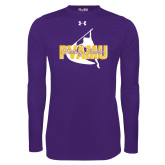 Under Armour Purple Long Sleeve Tech Tee-PVAMU Twirling Thunder Logo