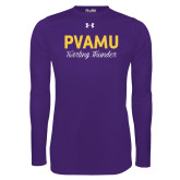 Under Armour Purple Long Sleeve Tech Tee-PVAMU Twirling Thunder Script