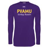 Under Armour Purple Long Sleeve Tech Tee-PVAMU Twirling Thunder Script