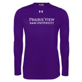 Under Armour Purple Long Sleeve Tech Tee-Word Mark Stacked