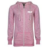 ENZA Ladies Hot Pink Marled Full Zip Hoodie-PVAMU