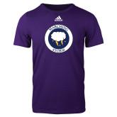 Adidas Purple Logo T Shirt-Marching Storm Cloud Circle