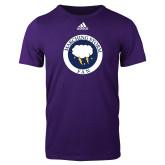Adidas Purple Logo T Shirt-Marching Storm Cloud Circle - Fan
