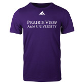 Adidas Purple Logo T Shirt-Word Mark Stacked