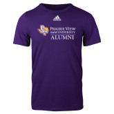 Adidas Purple Logo T Shirt-Alumni
