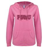 ENZA Ladies Hot Pink V Notch Raw Edge Fleece Hoodie-PVAMU Hot Pink Glitter
