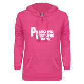 ENZA Ladies Hot Pink V Notch Raw Edge Fleece Hoodie-PV Marching Storm Band