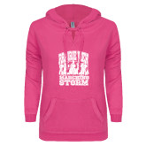 ENZA Ladies Hot Pink V Notch Raw Edge Fleece Hoodie-Praire View marching Storm w/ Majors