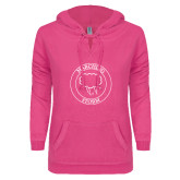 ENZA Ladies Hot Pink V Notch Raw Edge Fleece Hoodie-Marching Storm Cloud Circle