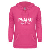 ENZA Ladies Hot Pink V Notch Raw Edge Fleece Hoodie-PVAMU Black Fox Script